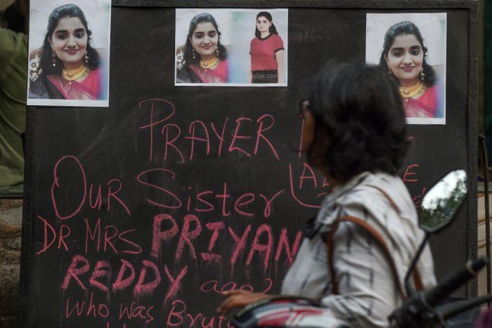 The gruesome rape and murder of a 25-year-old woman veterinarian by four men in Hyderabad last week led to nation-wide outrage and put a question mark on women's safety in cities. (Photo by AFP)