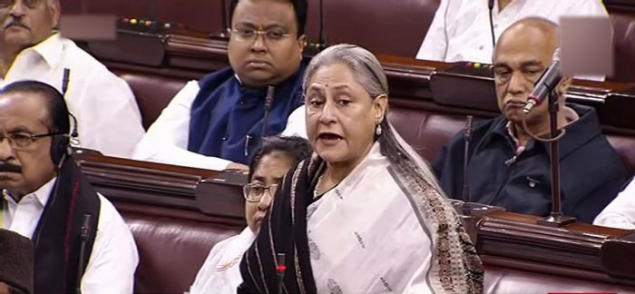 Samajwadi Party MP Jaya Bachchan speaks in the Rajya Sabha during the ongoing Winter Session of Parliament, in New Delhi, Monday
