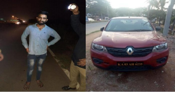 Tej Singh and the self-drive car, out of which he allegedly pushed his wife and ran her over. SPECIAL ARRANGEMENT