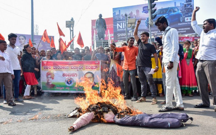 Students, under the banner of ABVP protest rape and murder of a minor at Yakapur village in Chincholi taluk and Hyderabad gang-rape horror, at SVP Circle in Kalaburagi on Wednesday.