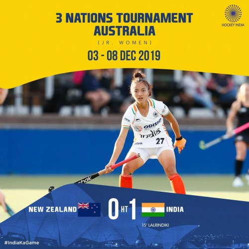 A defensive lapse from New Zealand then handed India a golden opportunity at the stroke of the quarter break and Lalrindiki found herself with enough space in front of the goal to slot the ball home. Photo (Twitter/@TheHockeyIndia)