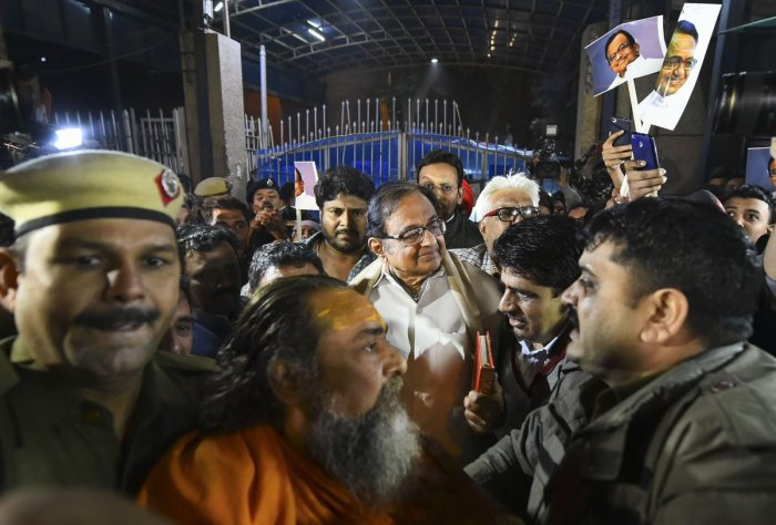 Even before Chidambaram's release, his supporters had gathered outside gate no 3 of the prison, bringing traffic to a standstill on the stretch. (PTI Photo)