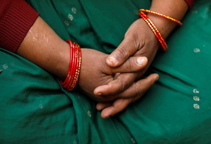 A relative of a 23-year-old rape victim. (Reuters Photo)