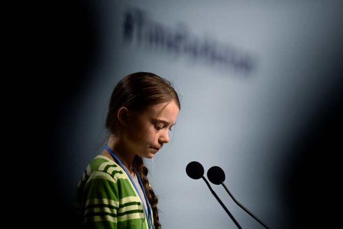 Swedish climate activist Greta Thunberg gives a speech during a high-level event on climate emergency hosted by the Chilean presidency during the UN Climate Change Conference COP25 at the 'IFEMA - Feria de Madrid' exhibition centre, in Madrid. (AFP Photo)