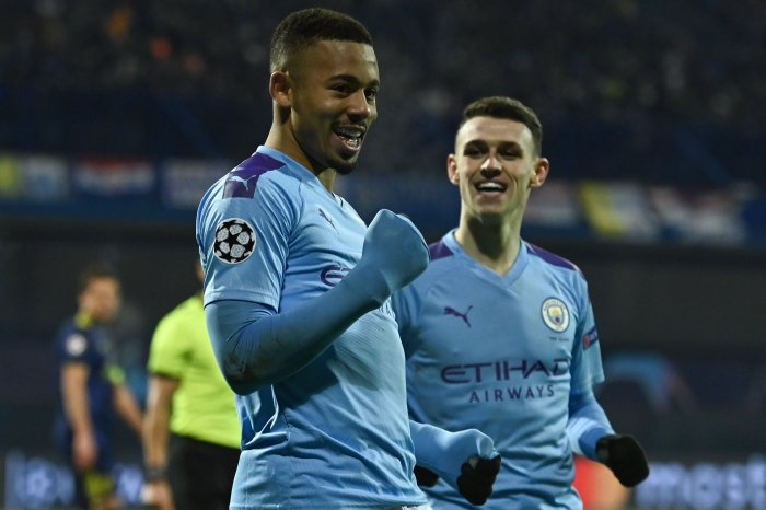 Manchester City's Brazilian striker Gabriel Jesus (L) celebrates after scoring a goal during the UEFA Champions League Group C football match between GNK Dinamo Zagreb and Manchester City FC at the Maksimir Stadium in Zagreb. (AFP Photo)