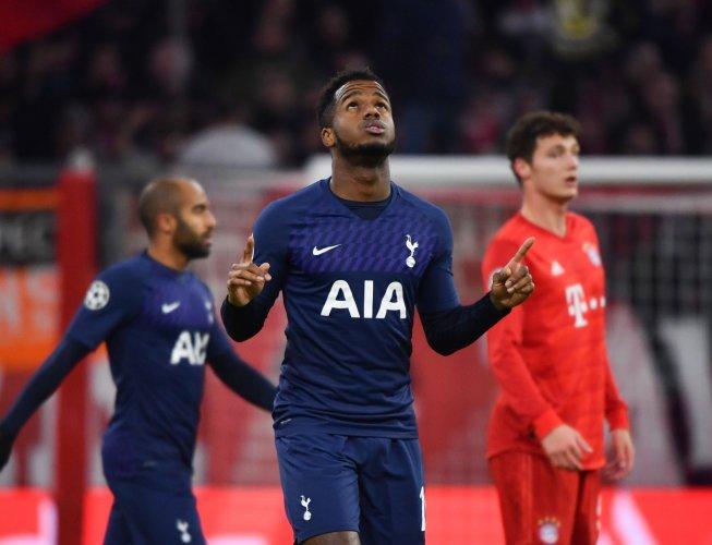 Tottenham Hotspur's English midfielder Ryan Sessegnon celebrates after scoring their first goal during the UEFA Champions League Group B football match between Bayern Munich and Tottenham. (AFP Photo)