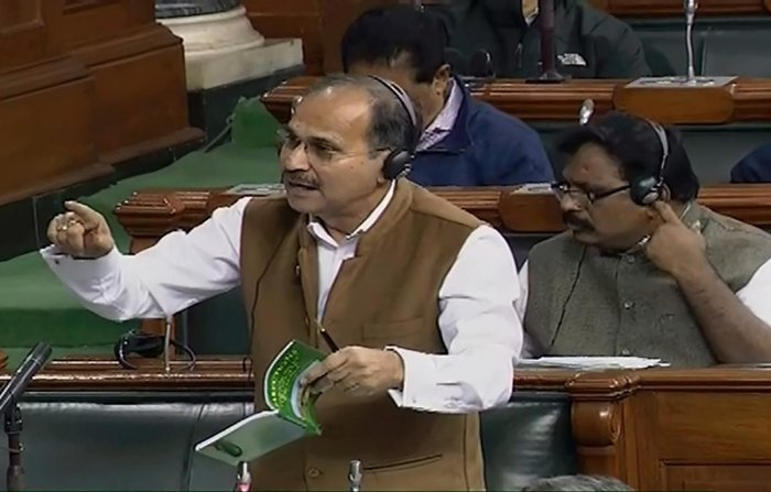 """Congress leader Adhir Ranjan Chowdhury raised the issue of violence in parts of the northeast region during the Zero Hour, saying barring a few places the entire region was in """"flames"""". PTI/LSTV"""