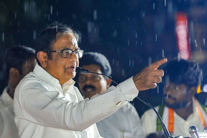 Congress leader P Chidambaram addresses at Tamil Nadu Congress Committee (TNCC) party office, in Chennai. (PTI Photo)