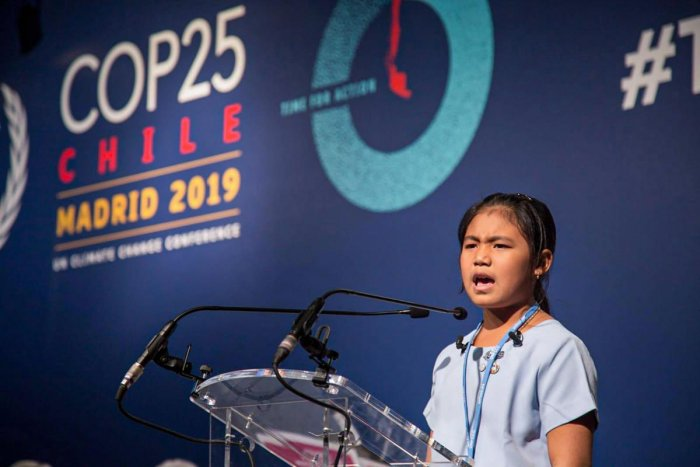Eight-year-old Licypriya Kangujam from Manipur speaks at the Climate Summit in Madrid, Spain. Photo by PTI.