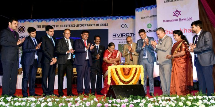Corporation Bank Managing Director P V Bharathi inaugurates 'Avirath', a national conference organised by the Committee for Capacity Building of Members in Practice of Institute of Chartered Accountants of India (ICAI) and Mangaluru branch of ICAI at Town