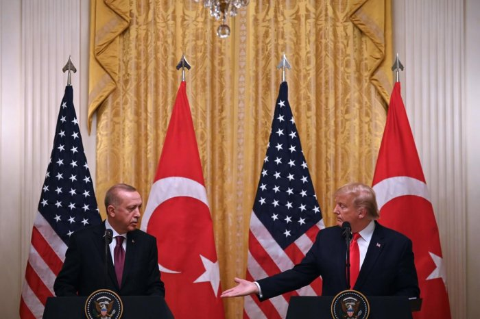 US President Donald Trump and Turkey's President Recep Tayyip Erdogan. Photo by AFP.