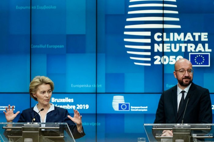 European Commission President Ursula von der Leyen speaks during a press conference at the European Union Summit at the Europa building in Brussels. Photo by AFP.