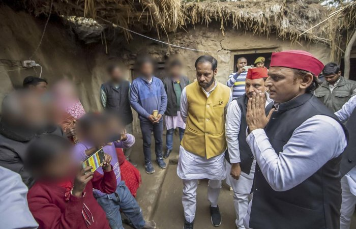 "Yadav, who arrived at the victim's village under the Bihar police station area here, said, ""Our party will fight for justice to the family of the rape victim."" Photo/PTI"