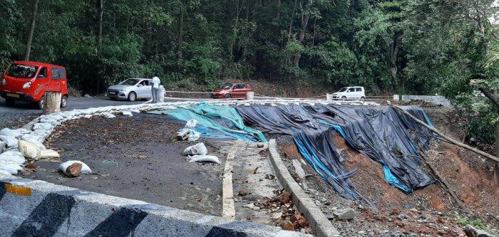 The restoration work of the damaged Karnataka-Kerala state highway is underway.