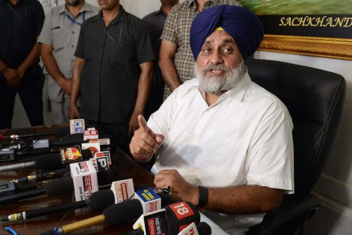 The 57-year-old former Punjab deputy chief minister became the SAD chief for the third time in a row. Photo/AFP