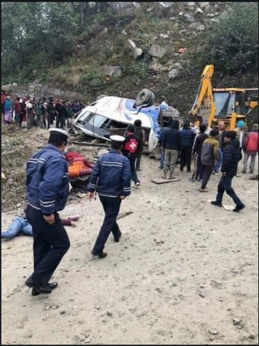 A passenger bus veered off the road and fell some 100 metres along the Araniko Highway in Nepal's Sindhupalchok. (ANI Photo)