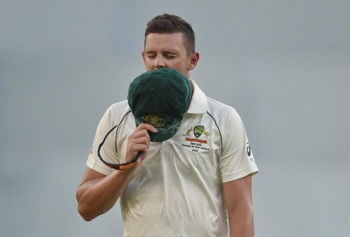 Australia's Josh Hazlewood walks off the field after pulling up injured on day two of the first Test cricket match between Australia and New Zealand at the Perth Stadium in Perth. (AFP file photo)