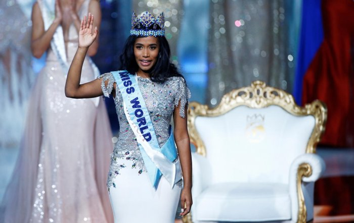 Miss World 2019 Toni Ann Singh of Jamaica celebrates winning the Miss World final in London. (Reuters photo)