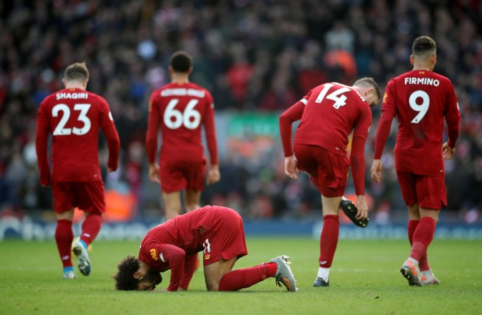 Liverpool's Mohamed Salah celebrates scoring their first goal. (Reuters photo)
