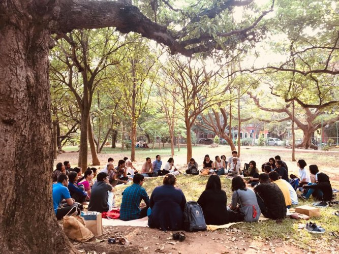 A poetry session at Cubbon Park.