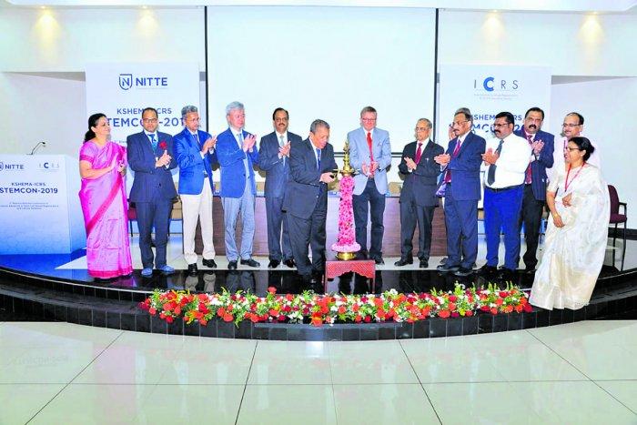 Nitte (Deemed to be University) Chancellor N Vinaya Hegde inaugurates the third biennial national conference on 'Current Advances in Stem Cell-based Regenerative and Cellular Medicine' at Deralakatte on Saturday.