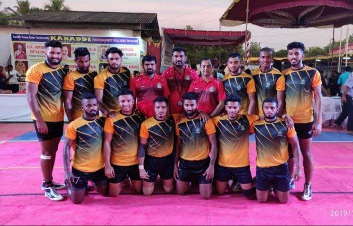 Mangalore University Kabaddi team which won championship in South Zone Inter University Kabaddi Men Tournament at Thenkanidiyooru in Udupi.