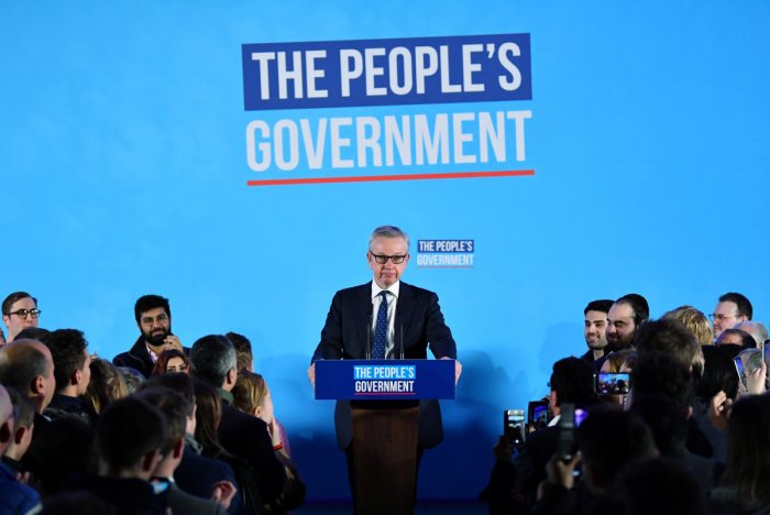 Britain's Chancellor of the Duchy of Lancaster Michael Gove speaks during Conservative Party event following the results of the general election in London. Reuters