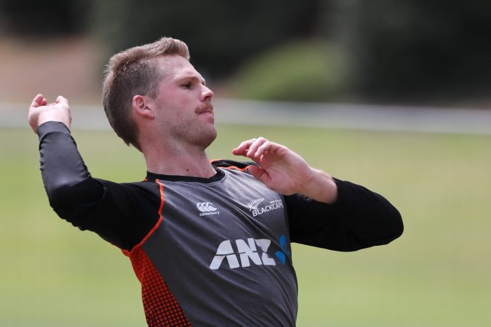 New Zealand Lockie Ferguson bowls during a training session ahead of the first Test match between New Zealand and England played at Bay Oval in Mount Maunganui. (AFP Photo)
