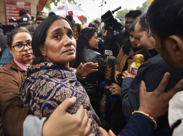 Nirbhaya rape case victim's mother outside the Patiala House Court in New Delhi, Friday, Dec. 13, 2019. (PTI photo)