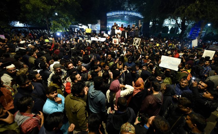 Students and other protest against the police action against students of the Jamia Millia Islamia University. at PHQ in New Delhi. (PTI Photo)