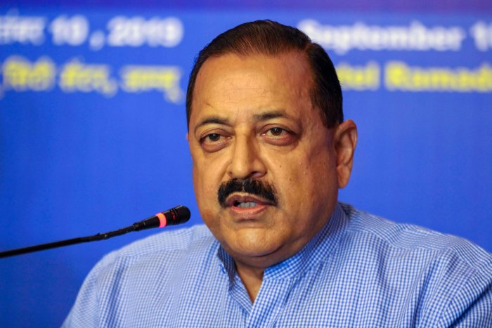 Minister of State for PMO Jitendra Singh addresses a press conference in Jammu. (PTI Photo)