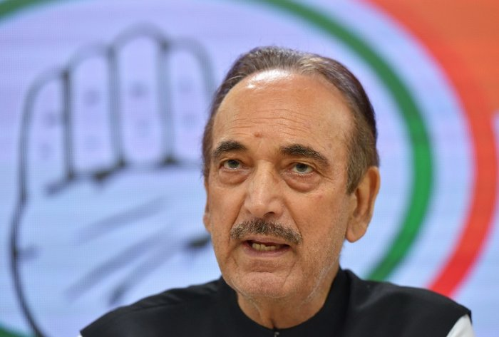Senior Congress leader Ghulam Nabi Azad speaks during a news conference in which MLA's of various local parties in Haryana who joined Congress, in New Delhi. (PTI Photo)