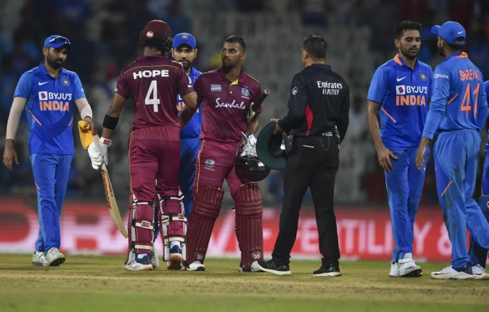 West Indies player Shai Hope reacts after winning the first One-Day International (ODI) cricket match against India. (PTI Photo)