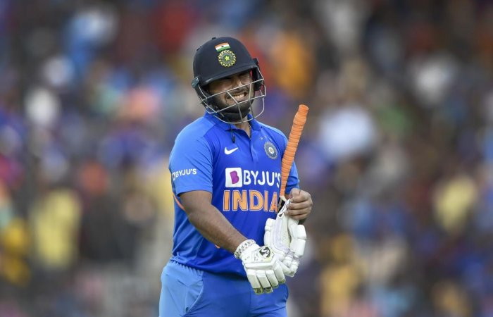 Pant has been greeted with chants of 'Dhoni, Dhoni' by crowds at various stadiums but not here. Photo/PTI