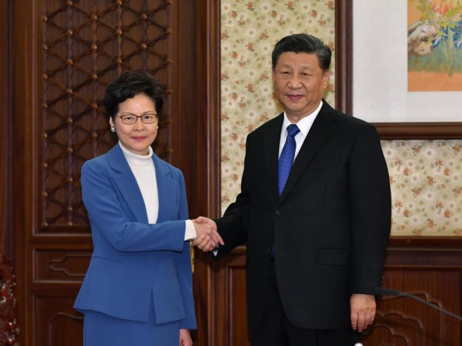 """Hong Kong has been """"haunted by this social unrest,"""" Lam said at an evening news briefing, adding that the Chinese leaders called the situation """"unprecedented."""""""