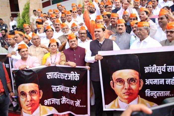 """Leader of the Opposition in the Assembly Devendra Fadnavis on Sunday sought an """"unconditional apology"""" from Gandhi over the remark. Photo/Twitter (@SidShirole)"""