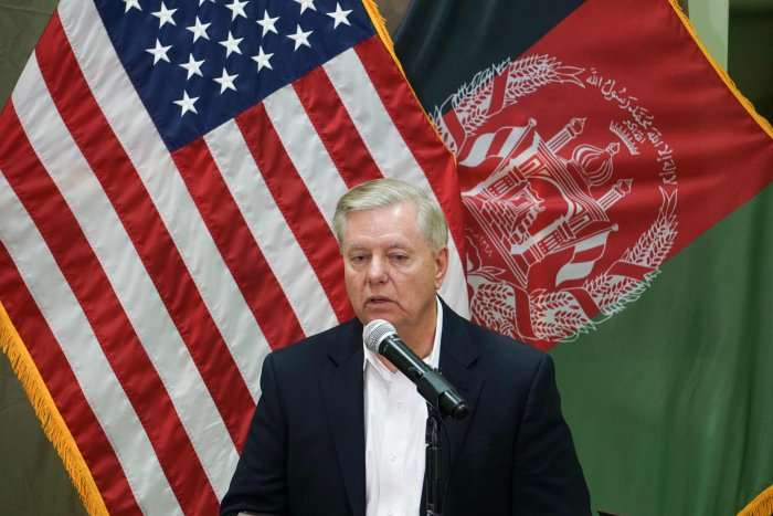 US Senator Lindsey Graham speaks during a press conference at the Resolute Support headquarters in Kabul. (AFP Photo)