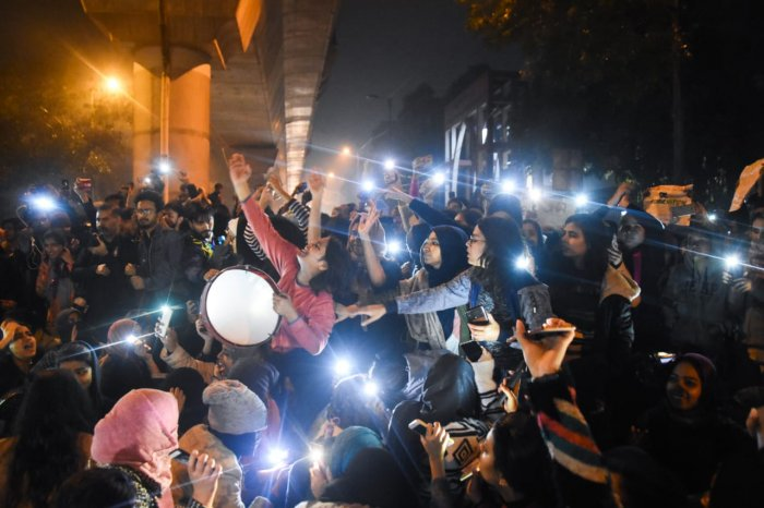 The university turned into a virtual battlefield on Friday when students and policemen clashed with each other as students tried to march to Parliament in protest against the legislation. Photo/Twitter (@UmarKhalidJNU)