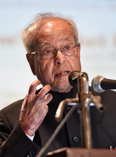 """""""A numerical majority in elections gives you the right to make a stable government,"""" said Former president Pranab Mukherjee. (PTI Photo)"""