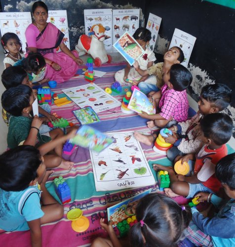 "The objective is to make anganwadi centres interactive and ""more child-friendly"" by providing additional facilities like creche as well as smart teaching and learning aid. DH Photo"