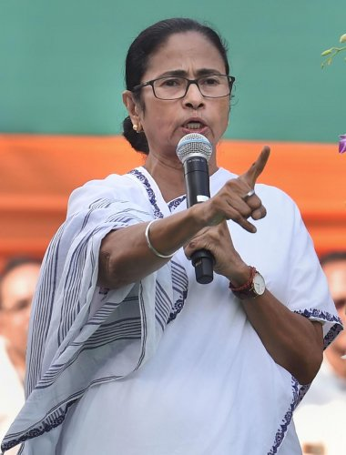 """Banerjee claimed that the Centre has stopped railway services in the state over """"one or two minor incidents"""" of violence. Photo/PTI"""