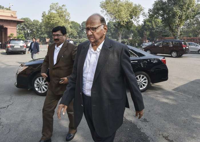 Nationalist Congress Party (NCP) Chief Sharad Pawar arrives at Parliament House during the ongoing Winter Session, in New Delhi, Monday, Dec. 9, 2019. (PTI Photo)