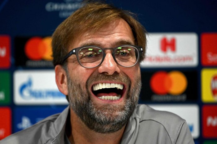 Liverpool's German manager Jurgen Klopp attends a press conference at Anfield stadium in Liverpool, north west England on November 4, 2019, on the eve of their UEFA Champions League Group E football match against Genk. (AFP Photo)
