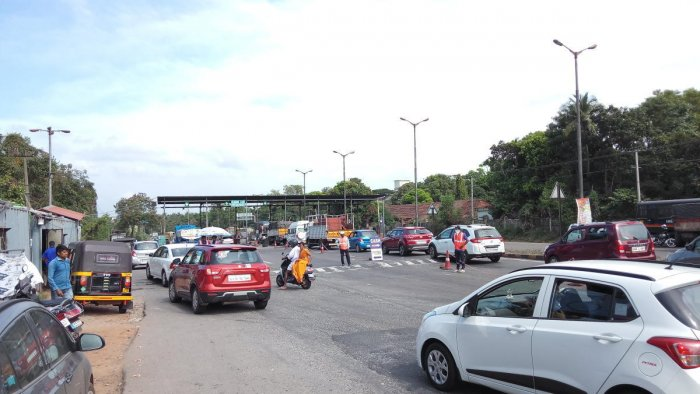 Vehicles at the toll plaza in Surathkal on Monday.
