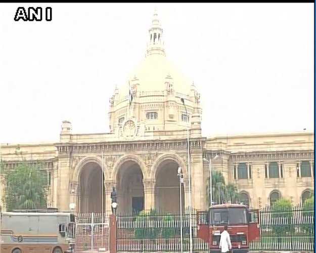 The opening day of the Winter Session of the Uttar Pradesh legislature got off to a stormy start, with the opposition forcing adjournment of the Assembly minutes after it met for the day on Tuesday. Photo (Twitter/@ANINewsUP)