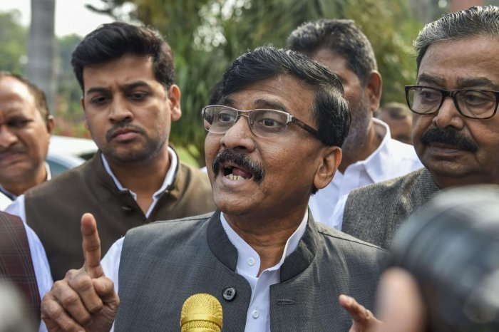 """Replying to a query on the BJP president's statement outside the Maharashtra Vidhan Bhawan here, Raut told reporters, """"Amit Shah has said it right that the Ram temple will surely be seen touching the sky. But, the foundation work for the temple has been done by the Shiv Sena."""" Photo/PTI"""