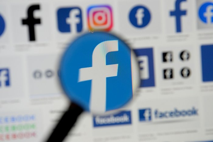 Facebook logos are seen on a screen in this picture illustration taken. (Reuters Photo)