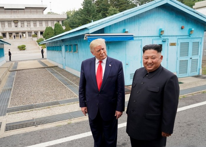 US President Donald Trump meets with North Korean leader Kim Jong Un at the demilitarized zone separating the two Koreas, in Panmunjom, South Korea. (AFP Photo)
