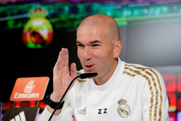 Real Madrid coach Zinedine Zidane during the press conference. (Reuters Photo)