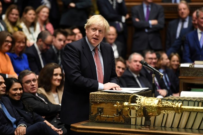 Britain's Prime Minister Boris Johnson speaks during a lawmakers meeting to elect a speaker, in London, Britain. (Reuters Photo)